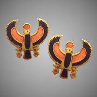 Egyptian Revival Horus God Enamel Earrings of 1976 King Tut Exhibition Metropolitan Museum of Art MMA
