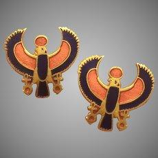 Egyptian Revival Horus God Enamel Earrings of 1976 King Tut Exhibition Metropolitan Museum of Art MMA