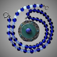 Chinese Cobalt Blue Peking Glass and Jade Bead Necklace with Enamel Auspicious Symbol on Large Silver Pendant UNISEX