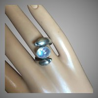 Vintage Rainbow Moonstone Two Dolphins Ring Sterling Silver Setting
