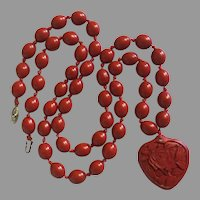 """Vintage Chinese Unusual Smooth Oval Knotted Cinnabar Beads Necklace and Pendant Carved Heart Cinnabar 34"""" Long"""