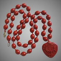 "Vintage Chinese Unusual Smooth Oval Knotted Cinnabar Beads Necklace and Pendant Carved Heart Cinnabar 34"" Long"