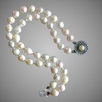 "Vintage Baroque Akoya Pearls Bracelet Sterling Silver 6.75"""
