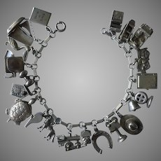 Vintage 1940's Loaded Charms Bracelet Sterling Silver 21 American Charms Some Rare Some Mechanical