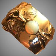 Wide Cuff Bracelet Fire Opal Jelly Opal Iris Orchid Flower Silver Bracelet 37 mm Wide Size Medium