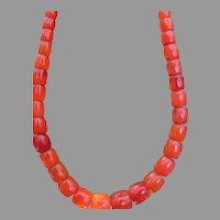 "30"" Long Antique Carnelian Necklace Large Barrel Beads Carnelian 112 grams UNISEX"