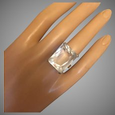 Art Deco Retro Rock Crystal Emerald Cut Stone Cocktail Ring Sterling Silver Size 7.25