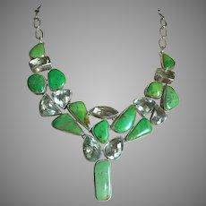 "Spectacular Turquoise Collar Necklace Prasiolite Sterling Silver 18"" Adjustable"
