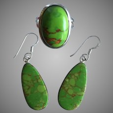 Copper Green Turquoise Silver Dangle Earrings and Ring Set