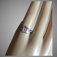 VALENTINE's DAY SPECIAL Pink Sapphire 14K White Gold Diamond Engagement Ring Size 7