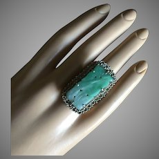 Chinese Export Carved Apple Green Jadeite Jade Silver Filigree Ring 35 mm Size 7 Adjustable