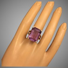 Classy Amethyst 14K Gold Elegant Retro Ring Weight 8.6 g Amethyst 11.6 carat weight