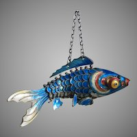 Almost Antique Chinese Export Blue Enamel Fish Silver Mechanical Articulated Chatelaine Style Pendant 70 mm Long
