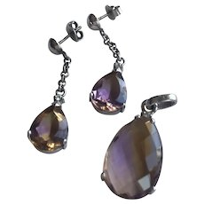 18K Solid White Gold Dangle Earrings and Pendant Demi Set Parure with Natural Ametrine 12.2 g