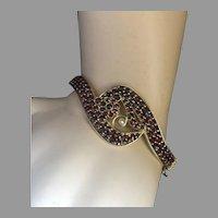 Bohemian Garnet Gold on Silver Seed Pearl Hinged Bangle Bracelet Crossover Design BEAUTIFUL