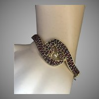 Bohemian Garnet Gold on Silver Seed Pearl Hinged Bangle Bracelet Crossover Design BEAUTIFUL