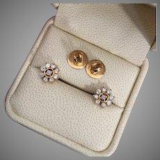 Sparkly 0.54 ctw Diamond 15K Gold Flower Studs Earrings 5.1 grams