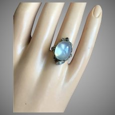 Antique Arts and Crafts Moonstone Cabochon Silver Ring 20 mm Size 6.25