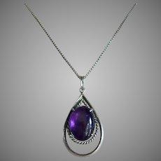 Mid Century Modern Perfect Purple Amethyst Cabochon Pendant Necklace Silver