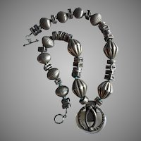 Architectural Italian Large Silver Beads Necklace Rock Crystal Silver Pendant Turquoise Accents