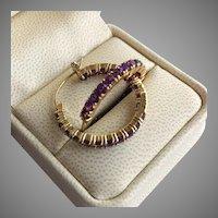 18K Gold over Sterling Silver Purple Amethyst Stone Hoop Gypsy Earrings 28 mm