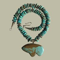 Native American Natural Turquoise Beads Necklace With Large Bear Spirit Turquoise Pendant UNISEX 142.37 grams