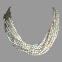 "Mid Century 10 Multi Strands Pearls Torsade Necklace 18.5"" Long"