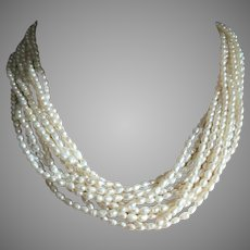 "Mid Century 10 Multi Strands Rice Pearls Torsade Necklace 18.5"" Long"