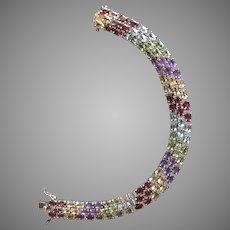 "Multi Gem Stones Amethyst Citrine Garnet Peridot Topaz Bracelet Tennis Style Linked Gold over Sterling Silver 7.5"" Long"
