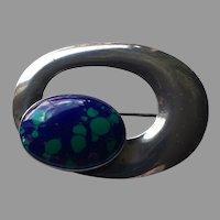 Mid Century Modern Azurite Malachite Arctic Opal Silver Brooch Pin Signed S.J. 48 mm