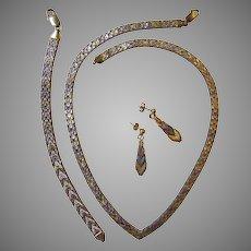 Italian Vintage V Neck Tricolor Riccio Chevron Style Silver Necklace Dangle Earrings Bracelet Circa 1970's