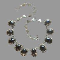 """Genuine Art Deco Retro 120 carats Smoky Quartz Rivière Choker Necklace Gold over Sterling Silver Length 15.5"""""""