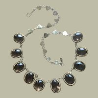 "Genuine Art Deco Retro 120 carats Smoky Quartz Rivière Choker Necklace Gold over Sterling Silver Hearts Chain Length 15.5"""