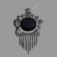 Beautiful Large Art Deco Pendant Brooch Pin with Folding Bale Tassels Marcasites Silver 72 mm
