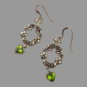 Edwardian Inspired Wreath Garland Silver Dangle Earrings Peridot Heart Tassel Lovely 47 mm Long