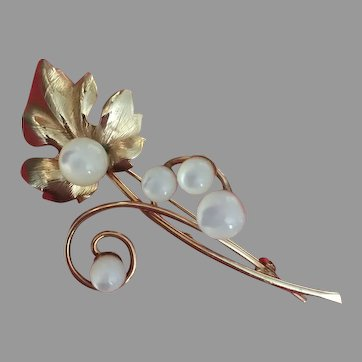 Impeccable Winard Signed Mother of Pearl Gold Filled Branch Brooch Pin