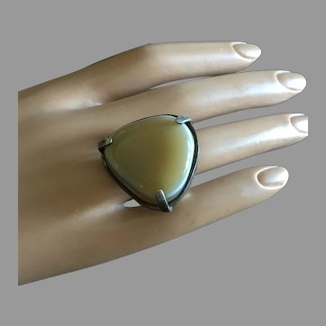 Unisex Mid Century Banded Agate Triangular Ring 28 mm Size 7.75