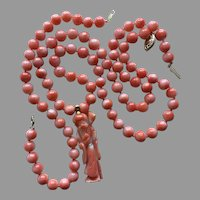 14K Gold Natural Vivid Salmon Coral Bead Carved Wise Man PENDANT on NECKLACE and Coral BRACELET Total 36.80 grams