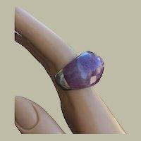 Unisex Faceted Massive Amethyst Quartz Ring Sterling Silver Size 6