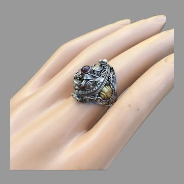 Vintage Poison Ring Fire Breathing Dragon Face Garnet Silver Beautiful Pinky Size 5