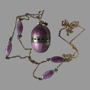Edwardian Purple Enamel Guilloché Egg Vinaigrette Pomander Pendant Necklace Circa 1910