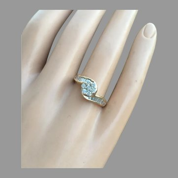 Certified Engagement Bypass Ring 14K Gold 0.92 ctw Diamonds with Appraisal Certificate Size 7.5 3.9 g