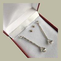 Art Deco Style 14K White Gold Long Drop Dangle Earrings Cubic Zirconia 51 mm BRIDAL