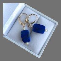 Lapis Lazuli Drop Dangle Earrings Seed Pearls Gold Filled 37 mm