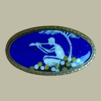 Antique Victorian Arts & Crafts Blue Enamel Boy Playing The Flûte Brooch Pin Brass