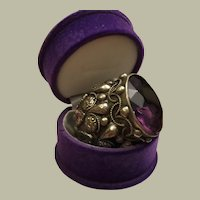 Antique Large Acorn Fob Ornament Repousse Embellished Arts & Crafts Silver Amethyst Paste 45 mm