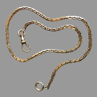 """Art Deco Gold Filled Pocket Watch Chain Impeccable Style 13.5"""" Long 4 mm Thick"""
