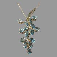 18K Gold Natural Aquamarine 6 ct Gem Aqua Bouquet Pendant 8.2 grams 59 mm