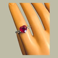 Heart Solitaire Ruby on Rock Crystal Band Ring Sterling Silver Size 6