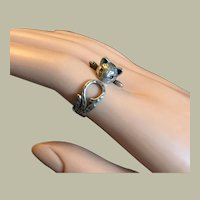 CAT RING Lovely Cat Playing with Its Tail RING Sterling Silver Size 6.5